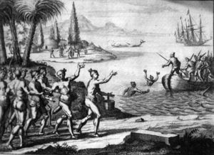 Lithograph Of The Timucua Greeting The French