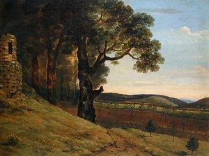 Welsh Landscape With Oak Trees By A Ruin