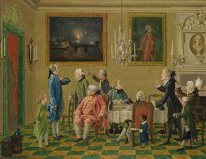 British Gentlemen At Sir Horace Mann's Home In