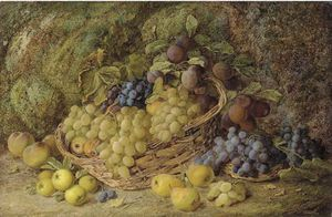Grapes, Apples, Plums And Blueberries In A Wicker Basket, With Pears And Peaches On A Mossy Bank