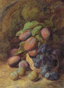 Plums And Grapes In A Wicker Basket On A Forest Floor