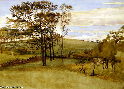 Wikioo.org - The Encyclopedia of Fine Arts - Painting, Artwork by Walter Crane - Late Summer Landscape