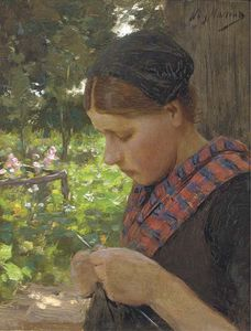 A Girl Knitting