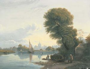 Figures On The Bank Of The River Thames