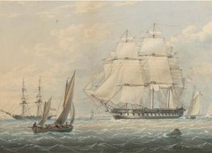 A Royal Naval Frigate Amidst Other Shipping At Spithead