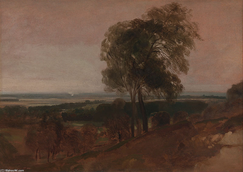 Wikioo.org - The Encyclopedia of Fine Arts - Painting, Artwork by Peter De Wint - Landscape Study At Sunset
