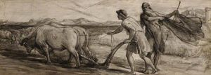 Ploughing - Study For 'the Mantle Of Elijah'