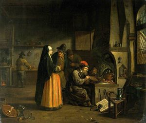 A Lady Visiting An Alchemist In His Laboratory