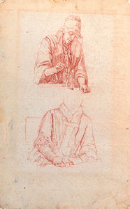 Studies Of A Woman Weighing And Of A Woman Seated Holding A Roemer