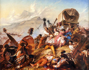 Depiction Of A Zulu Attack On A Boer Camp