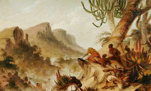 Kaffirs And Rebel Hottentots Attacking A Wagon Train