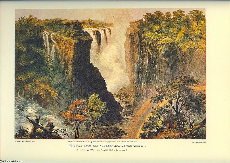 Wikioo.org - The Encyclopedia of Fine Arts - Painting, Artwork by Thomas Baines - The Falls From The Western End Of The Chasm