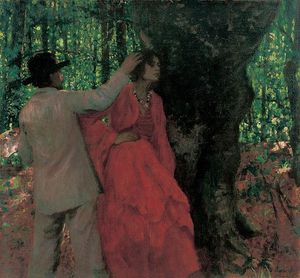 Painter And Model In The Woods