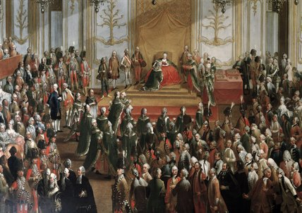 Wikioo.org - The Encyclopedia of Fine Arts - Painting, Artwork by Martin Ii Mytens - Maria Theresa At The Investiture Of The Order Of St