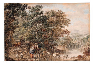 Herdsmen With A Child And Cattle By A River In An Italianate Landscape