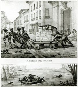 Negroes With A Cart And A Brazilian Boat Made