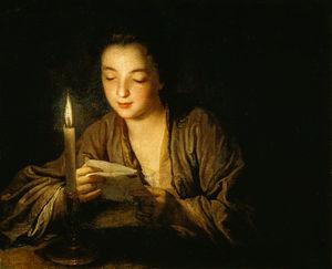 Jeune Fille Lisant Une Lettre À La Bougie