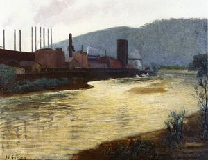 Monongahela River, Pittsburgh, Jones y la planta de acero Laughlin - Aaron Harry Gorson