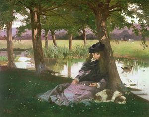 An Afternoon By A River With A King Charles Spaniel - Alexander Mark Rossi