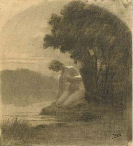 Un Paysage Avec Une Femme Nue Agenouillée Au Bord D'un Lac
