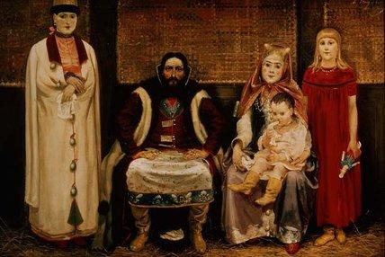 WikiOO.org - Enciclopedia of Fine Arts - Pictura, lucrări de artă Andrei Petrovich Ryabushkin - A Merchant And His Family In The Seventeenth