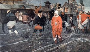 A Seventeenth Century Moscow Street On A Holiday