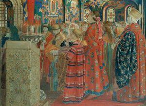 Seventeenth Century Russian Women At Church