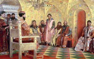 Tsar Mikhail Fyodorovich With Boyars Sitting In His
