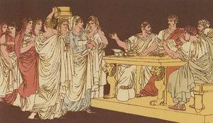 Señoras romanas trayendo sus Adornos