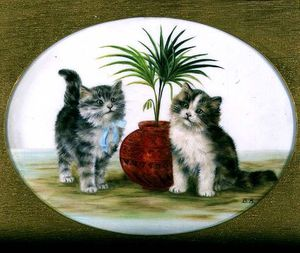 Kittens By A Palm In A Bowl