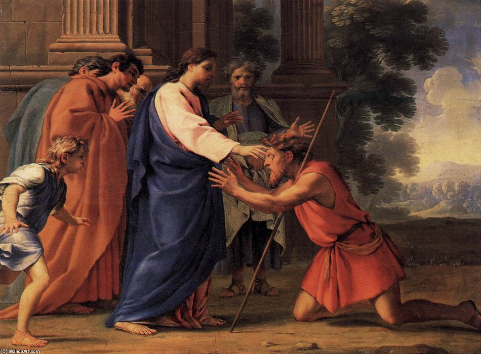 Wikioo.org - The Encyclopedia of Fine Arts - Painting, Artwork by Brother Lesueur (Eustache Le Sueur) - Christ Healing The Blind Man