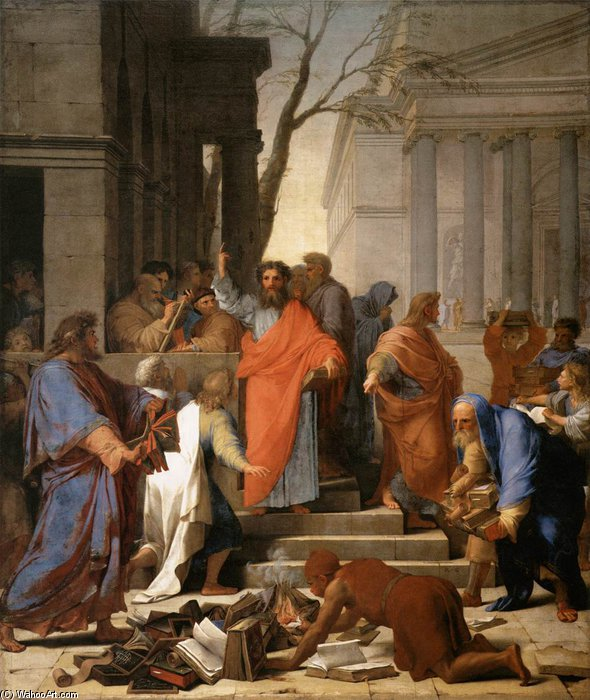 Wikioo.org - The Encyclopedia of Fine Arts - Painting, Artwork by Brother Lesueur (Eustache Le Sueur) - The Preaching Of St Paul At Ephesus