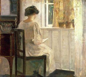 chica leyendo para un iluminado por el sol espacio