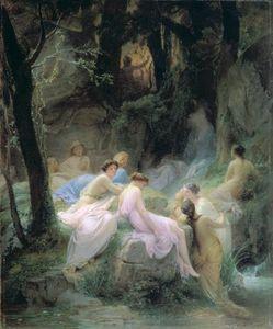 Ninfas escuchar el canto de Orfeo