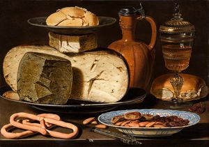 Still Life With Cheeses, Almonds And Pretzels From Circa