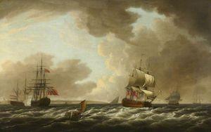 A Dutch Ship Saluting An English Flagship