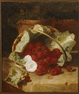 Raspberries In A Cabbage Leaf Lined Basket
