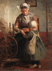 Helping Mother With The Spinning-wheel