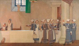 Orphan Girls In The Refectory Of A Hospital
