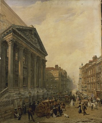 Wikioo.org - The Encyclopedia of Fine Arts - Painting, Artwork by Frederick Nash - The Mansion House From Poultry Looking Down