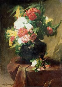 Peonies In A Vase On A Draped Table