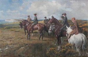 The Seely Family On Horseback, On A Moor