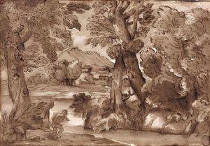 Attribué À Giovanni Francesco Grimaldi Bolonia, - Roma, Paysages Avec Fortificaciones en arrière-plan de Paire De Dessins À La