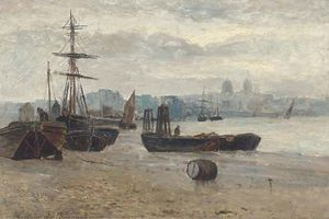 Beached Ships With A Townscape In The Distance