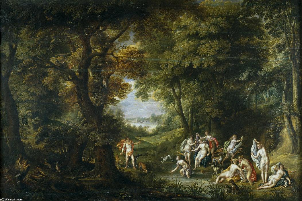 Wikioo.org - The Encyclopedia of Fine Arts - Painting, Artwork by Hendrick De Clerck - Paisaje Con Diana Y Acteón