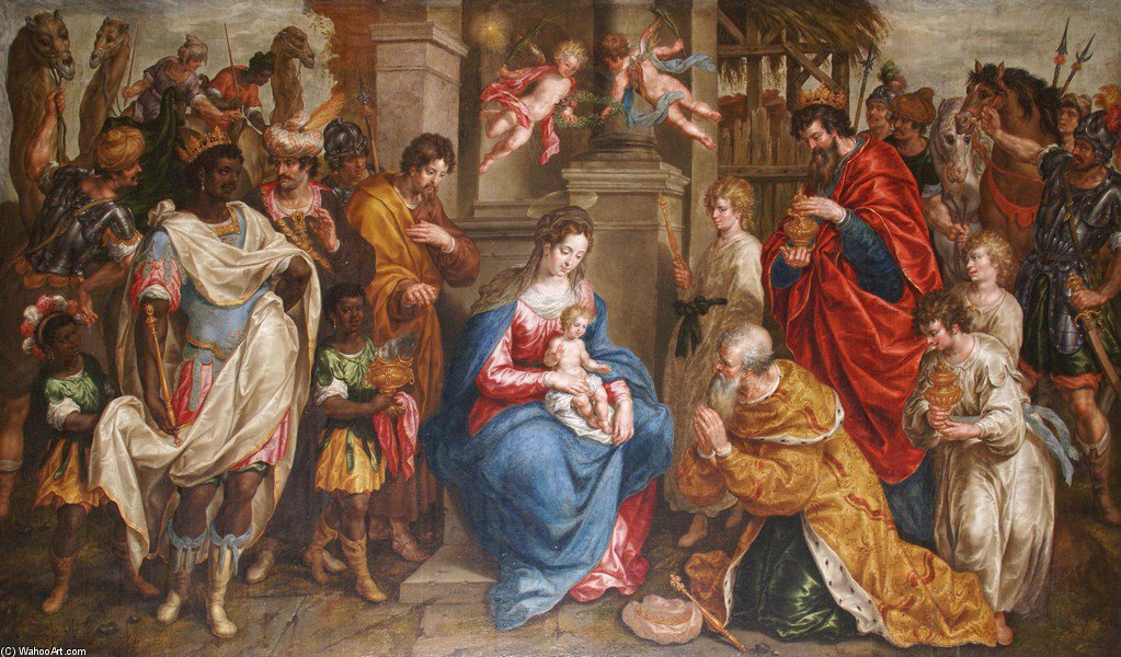 Wikioo.org - The Encyclopedia of Fine Arts - Painting, Artwork by Hendrick De Clerck - The Adoration Of The Magi