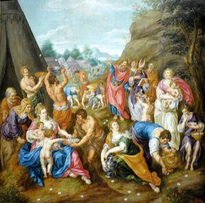 The Israelites Gathering Manna