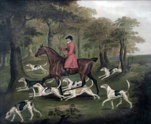 A Huntsman And Fox Hounds, Entering A Wood