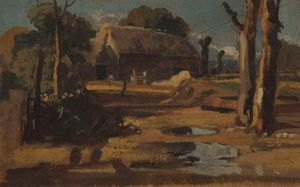 A Barn, Trees, Puddles