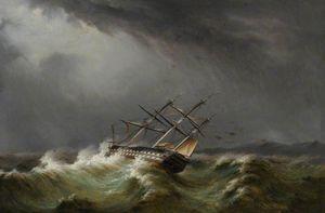 Gun Ship In A Storm